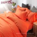 High Quality Hotel Bedding Linen Supplier 100% Cotton60s Plain orange yellow Bed Sheets Set