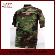 Moda tático militar camuflagem manga curta camiseta Catton t-shirt moda