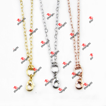 Venta al por mayor de metal de moda de oro / plata de color latón cadena collar recuerdo (BCN50829)