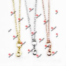 Venda Por Atacado moda metal ouro / prata cor latão cadeia colar lembrança (BCN50829)