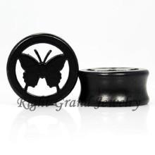Black Butterfly Wood Ear Plug Piercing Jewelry