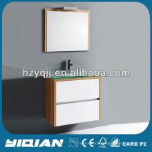 Modern Small Bathroom Wall Hung Cabinet barato lavatório de vidro temperado MDF banheiro gabinete