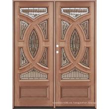 Doble Doos Big Molding Villa Exterance Puertas de madera de roble
