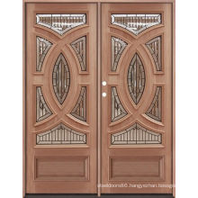 Double Doos Big Moulding Villa Exterance Oak Wood Doors