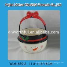 2016 christmas decoration ceramic handle basket in snowman shape