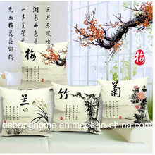 The Elegant Chinese Style Sofa/Office Chair Pillow Cotton Linen Cushion