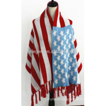 America Flag Pattern Acrylic Winter Scarf Shawl