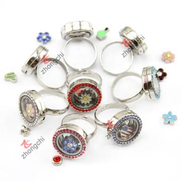 Rhinestone anillos flotantes Locket para regalo de promoción (LR146)