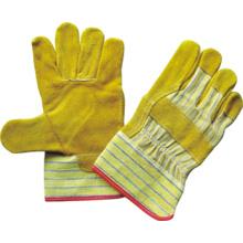 Guante de trabajo de palma parcheado en piel de vaca amarillo-3051