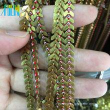 Cadena de forma plana con Turquía Cadena de cuentas de rosario de alambre de metal de mal de ojo