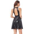 Kate Kasin impresionante Sequined sin mangas de corte de espalda corto negro vestido de fiesta de cóctel de baile de fin de curso 7 tamaño EE.UU. 4 ~ 16 KK001060-1