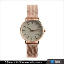 Reloj de malla de acero inoxidable reloj de pulsera de cuarzo japonés para par de níquel libre de acero inoxidable