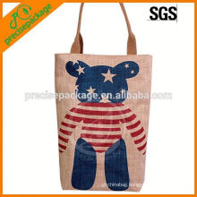 Durable Jute shopping bag with cartoon printing