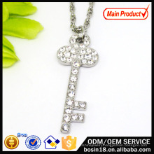 Wholesale Alloy Chain Crystal Key Pendant Necklace