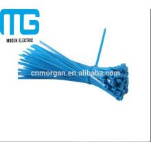 Auto-bloqueio tipo cabo de nylon macio zip laços azul com alta resistência à tração, UL94-V2 à prova de fogo