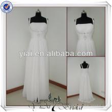 JJ2207 playa de gasa una línea de no vestidos de novia de la cola para novias más viejas