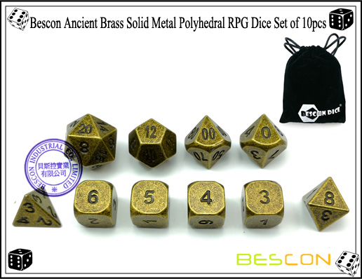Bescon Ancient Brass Solid Metal Polyhedral RPG Dice Set of 10pcs-1