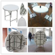 Dia 122cm HDPE molde de soplado de alta calidad barbacoa al aire libre barbacoa picnic Camping plegable en la mitad de la mesa redonda (HQ-ZY122)