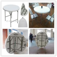 Диаметр 122 см HDPE Blow Mold Высокое качество Дешевые Открытый Барбекю Пикник Отдых Складные в половине Круглый стол (HQ-ZY122)