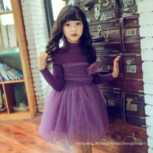 Mädchen 2018 kleidet lange Hülsenkindswinterstrickjacken kleidet purpurrote Blume Kinder Kleid Weihnachtskinder tragen 6 Jahre alt