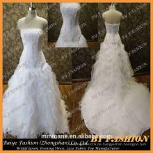 Alibaba Braut Plus Größe Hochzeitskleid mit langen Zug Luxus Hochzeitskleid Verkauf Designer trägerlosen Brautkleid Muster