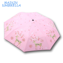 Leading Umbrellas Manufacturer Love Deer Customize Full Color Printed Three Folding Luxury Wind Proof Lady Umbrella Corporation