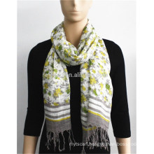 Flower Printed 100% Rayon Scarf with fringe
