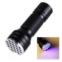 3AAA Alumínio Invisível Blacklight Detecção 21 LED Ultra Violet Mini portátil Tocha Luz