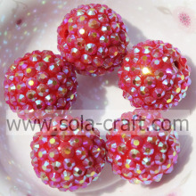 Wholesale Jewelry 18*20MM Resin Rhinestone Silver Red AB Ball Beads Ornaments
