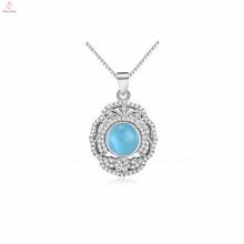 Colar de pingente de pedra azul OEM 925 prata esterlina