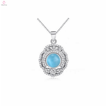 ОЕМ 925 стерлингового серебра синий камень Кулон ожерелье