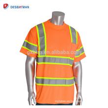 Camiseta reflectante de cuello alto de calidad superior 100% transpirable de alta calidad para hombres Ropa de trabajo de manga corta alta visibilidad con bolsillo en el pecho