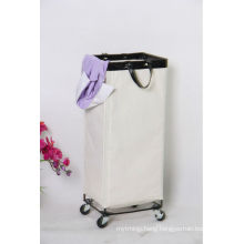 Steel Material Laundry Square Canvas storage Bin with wheels