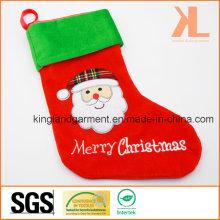 Qualitätsstickerei / Applique Samt Frohe Weihnachten Santa Style Strumpf für Dekoration