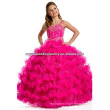El vestido de bola rebordeado lujoso rizó la falda rebordeó los vestidos largos del desfile de las muchachas del color de rosa caliente / de la manzana verde CWFaf5279