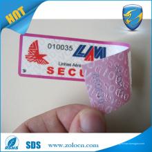 Kundenspezifische Druck-Seriennummer Tamper Evident Garantie VOID Aufkleber Etiketten