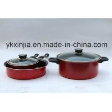 Utensilios de cocina Juego de utensilios antiadherentes de acero al carbón rojo