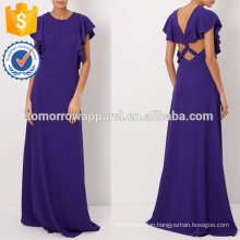 New Fashion Purple Crepe Sleeveless Ruffle Evening Gown Dress Manufacture Wholesale Fashion Women Apparel (TA5275D)