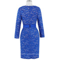 Kate Kasin Women's Long Sleeve Floral Lace Blue Knee Length Ball Evening Prom Party Dress 8 Size US 2~16 KK000218-1