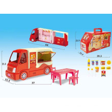 Crianças de plástico fingir jogar set hambúrguer carro de jantar (10185416)
