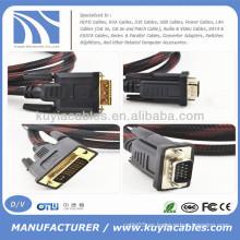Varón de los 5ft DVI al cable macho M / M del VGA para la PC 1080P de DVD LCD HDTV
