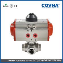 Buena calidad 3way SUS304 válvula de bola neumática con precio bajo