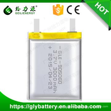 Batería aprobada del polímero de GLE-905060 Li de ISO9001 3.7V 3000mAh