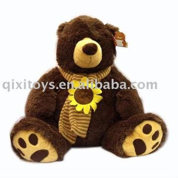 gran oso de felpa de peluche relleno con pañuelo de girasol