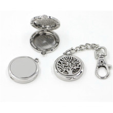 30mm Silver Lmooth Round Life Tree Porte-clés en huile essentielle Keychain