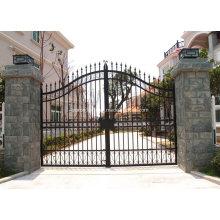 Portas de deslizamento forjadas casa usadas da entrada de automóveis da segurança da porta do ferro forjado