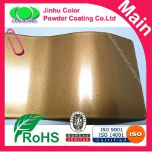Revestimento em pó dourado metálico colado