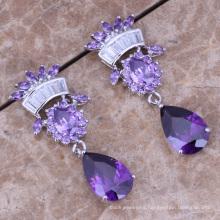 Princesa americana largos pendientes zircon piedra circonita púrpura