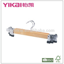 Bulk and cheap wooden trousers skirt hangers with metal clips