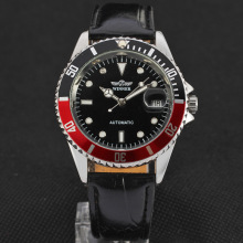 winner automatic mechanical watch with mixed color bezel